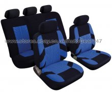 Blue Black Velour Look Car Steering & Seat Covers, Pads