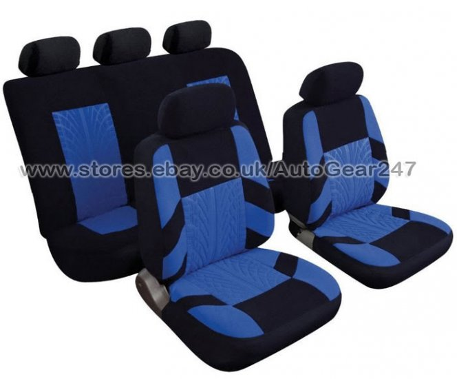 Blue Black Velour Look Car Steering & Seat Covers, Pads - Click Image to Close