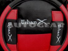 Black Red Mesh Fabric Universal Car Seat Covers Pack +F