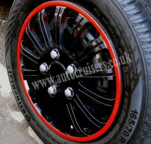 "13"" Red Ring Black Wheel Trims Hub Cap Covers & Free !!!!"
