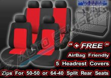 Black Red Lumbar Support Full Set Camden Car Seat Covers Set