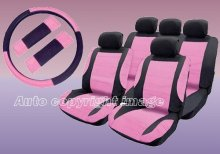 Universal Leather Look Pink Black Car Seat Covers Deal