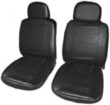 Black Leather Look Car Taxi Van Front Seat Covers Pair