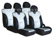 Silver Black Leather Look XRC Car Seat Covers Set