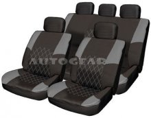 Grey Black Racing Leather Look Fabric Car Seat Covers