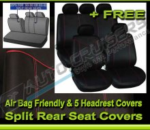 Black Fabric Red Stitching Car Seat Covers Set