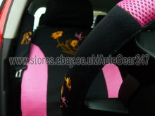 Pink Black Flower 13pc Car Seat & Steering Cover with 4Pc Mats +