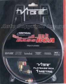 Vibe FLATBASS RCA 1M BASS Car Amplifier Amp Phono Leads