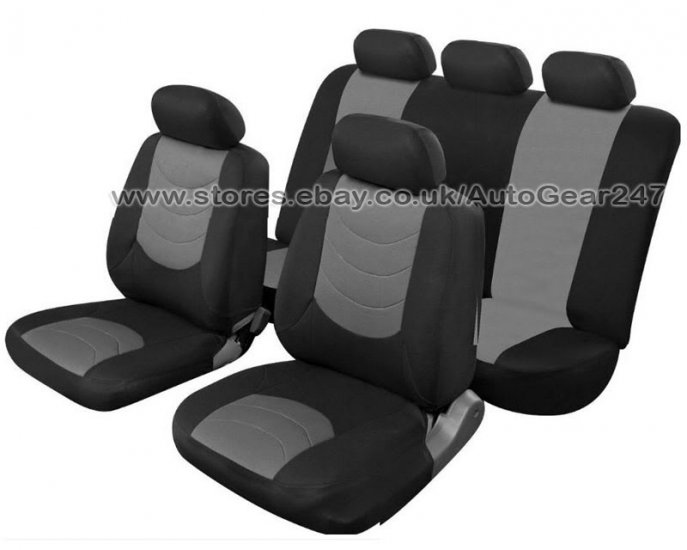 Grey Black Leather Look Car Seat Covers Set, Air Bag OK - Click Image to Close