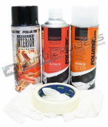 Foliatec Car Interior Door Plastic Gloss Black Spray Paint Kit
