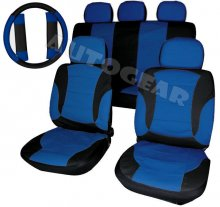 Car Blue Black Leather Seat Covers Package, Split Rear