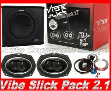 "Vibe Slick 12"" Bass Pack 2.1 Sub Enclosure+6x9""+Amp+Kit"