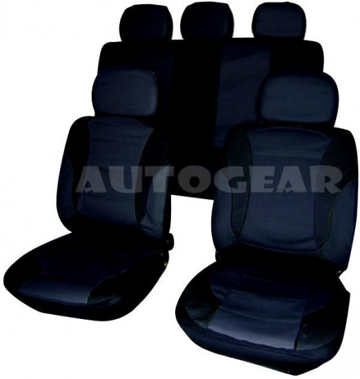 Taxi Car Black Leather Universal Seat Covers Split Rear - Click Image to Close