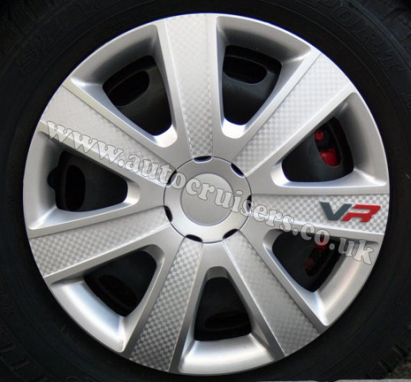 "14"" inch VR Silver Carbon Look Wheel Trims Covers & Free Caps !! - Click Image to Close"