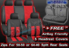 Black Red Leather Look Split Rear Full Car Steering Seat Covers