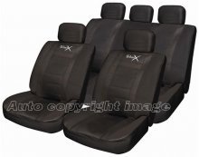 Sport Leather Look Black Car Seat Covers Package Set