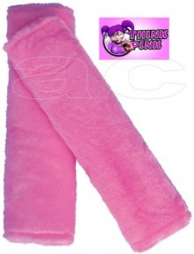 Think Pink Furry Fluffy Car Shoulder Harness Pads Set