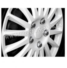 "15"" White Multispoke Car Wheel Trims Hub Caps Covers & Free !!!"