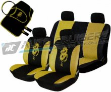 Yellow/Black Car Seat Covers Matching Package Deal