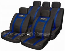 Sport Leather Look Black Blue Car Seat Covers Set Pack