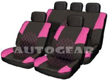 Pink/Black Leather Fabric Car Split Seat Covers+Air Bag