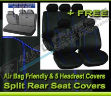 Black Fabric Blue Stitching Car Seat Covers Set