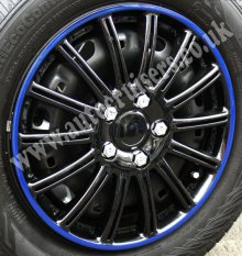 "15"" SW Blue Ring Black Car Wheel Trims Covers & Free !!!"