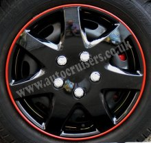 "14"" Gloss Ice Black Red Ring Wheel Trims Cap Covers & Free !"