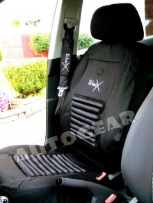 Black Back Support Air Bag Car Seat Covers Package Deal