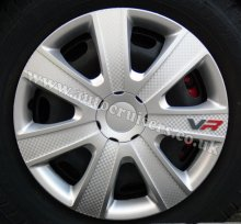 "16"" inch VR Silver Carbon Look Wheel Trims Covers & Free Caps !!"