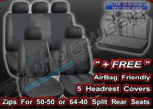 Black Leather Look Split Rear Seats Full Car Seat Covers Set