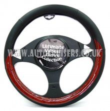 Car Black with Walnut Wood Effect Luxury Steering Wheel Cover
