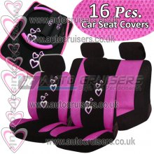 16pcs. Pink Hearts Car Seat Covers Matching Package Deal
