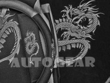 13pc Grey Black Dragon Car Steering & Seat Covers+Mats+