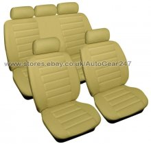 Beige Cream Leather Look Car Seat Covers Full 8pc Set