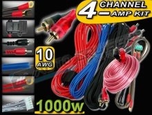 1000w 10 AWG Gauge 2,4 Channel Car Van Amp Wiring Kit
