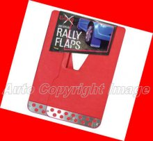 Universal Red With Chrome Plate Car Rally Mud Flaps Set
