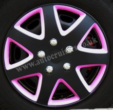 "13"" Matt Black & Pink Wheel Trims Hub Cap Covers + Dust Caps"