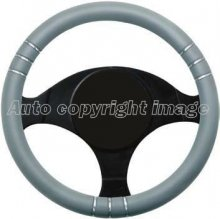 Grey With Silver Insert Sports Car Steering Wheel Cover