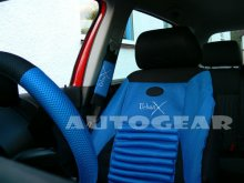 Black Blue Back Support Air Bag Car Seat Covers Package