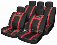 Sports Leather Look Black Red Car Seat Covers Set Pack