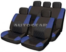 Blue Black Racing Leather Look Fabric Car Seat Covers