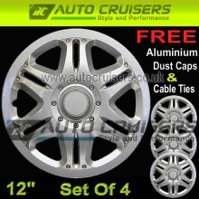 12'' Silver Plastic ABS Wheel Trims Hub Cap Covers + Free