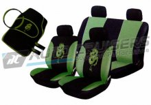 Bright Green/Black Car Seat Covers Matching Package Deal