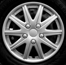 "15"" Silver Multi Spoke ABS Plastic Wheel Trims Cap Covers & Free"
