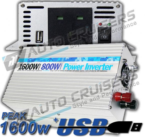 12v DC - 230v AC Mains Converter 800w,1600w Peak Power Inverter - Click Image to Close