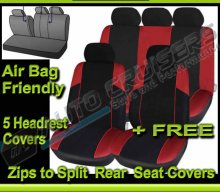 Black Red 5 Headrest & Split Rear Car Seat Covers Set