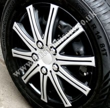 "14"" Silver & Black ABS Plastic Wheel Trims Cap Covers & Free !!"