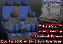 Black Blue Leather Look Split Rear Seats Air Bag Friendly Full Car Seat Covers