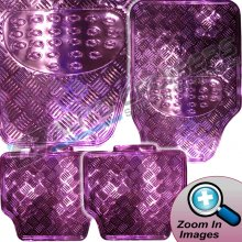 Checker Plate Design Shiny Pink Chrome Car Heavy Rubber PVC Mats